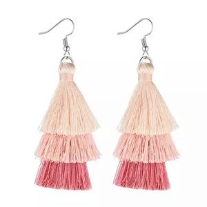 Peach Tassel Layered Bohemian Earrings
